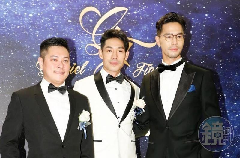 藍鈞天(中)過去與高以翔、丁春誠(右)、陳紹誠(左)合稱「時尚F4」,但今天婚禮上高以翔因工作缺席,形成三缺一的局面。