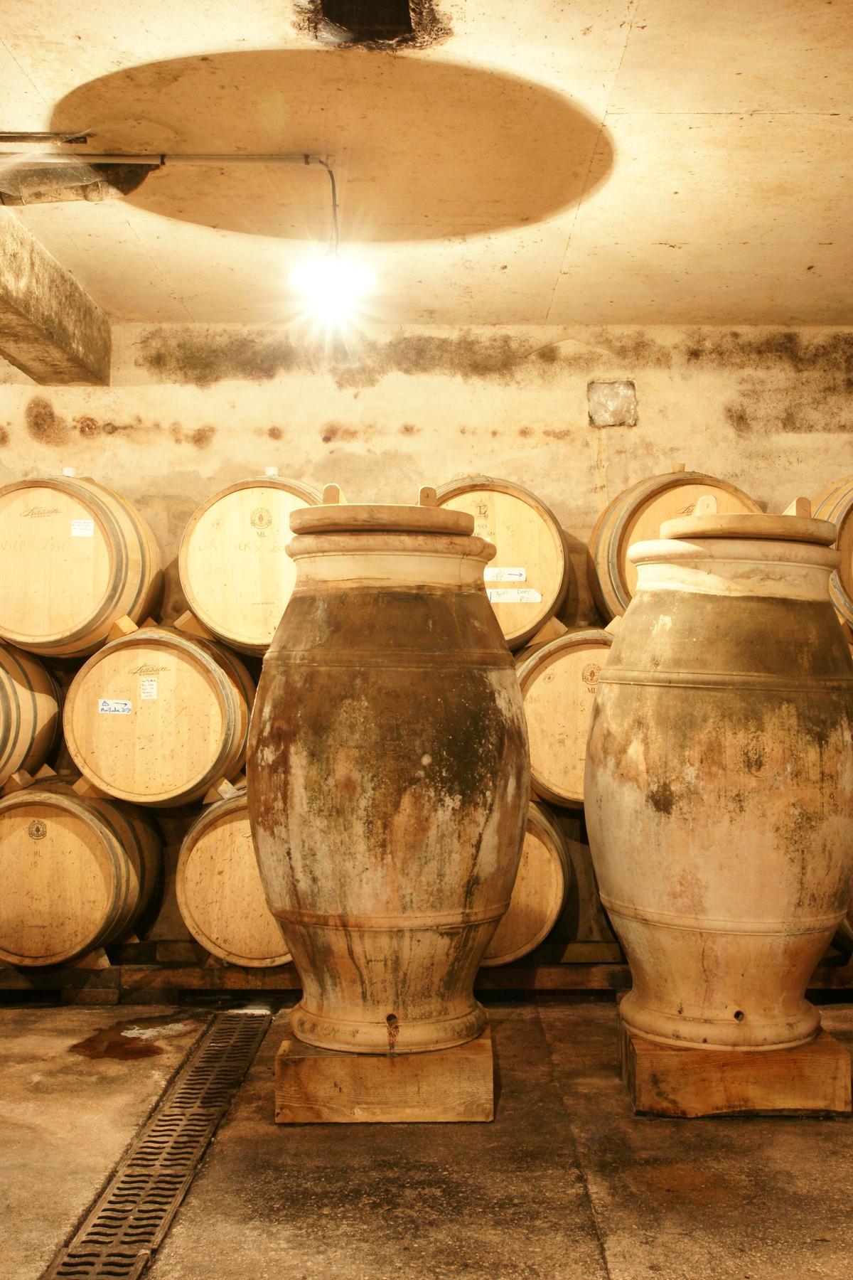 在歐洲部份地區維持有千年歷史的橘酒釀造法,會把整串葡萄放入陶罐裡,經泡皮發酵數月再取出飲用,這讓橘酒有歷史最悠久葡萄酒的說法。(林裕森提供)