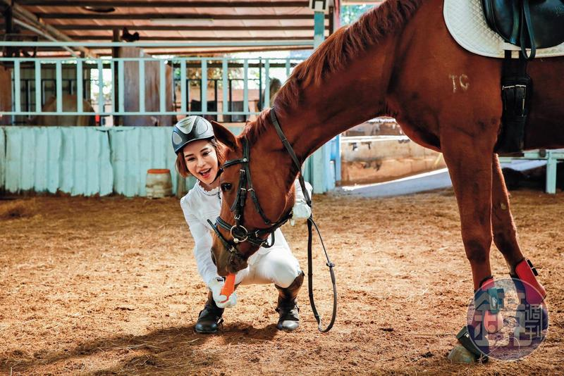斯容跟馬場的教學馬「萌萌」感情很好,萌萌最喜歡跟她撒嬌討胡蘿蔔吃。