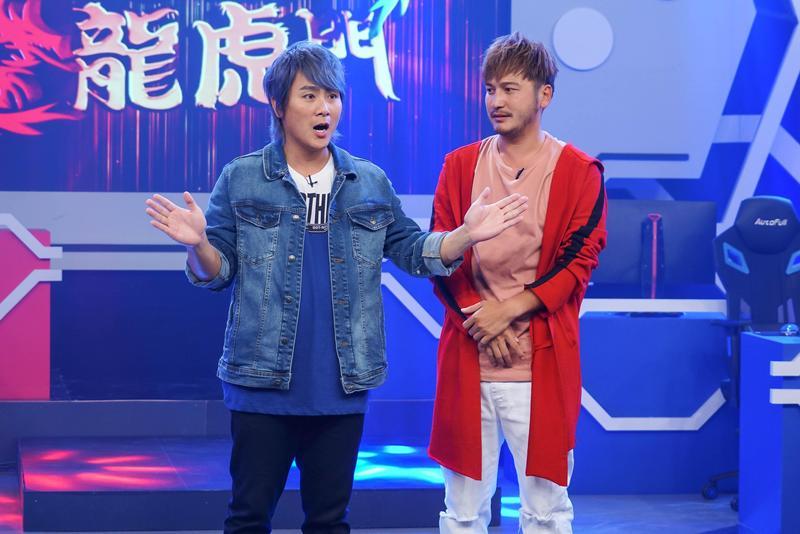 王仁甫(右)和KID於《FIVE鬪!龍虎門》節目中進行賽車決鬥。(狼谷競技台提供)