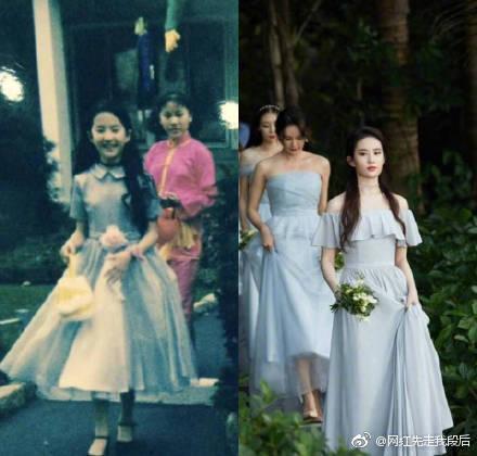劉亦菲童年過萬聖節的照片曝光。(翻攝自微博)