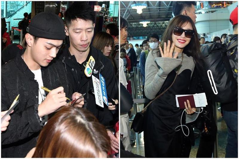 許凱一到機場就被粉絲重重包圍要求簽名合照,戴著墨鏡的秦嵐雖略顯疲憊但笑容仍然美麗。(八大提供)