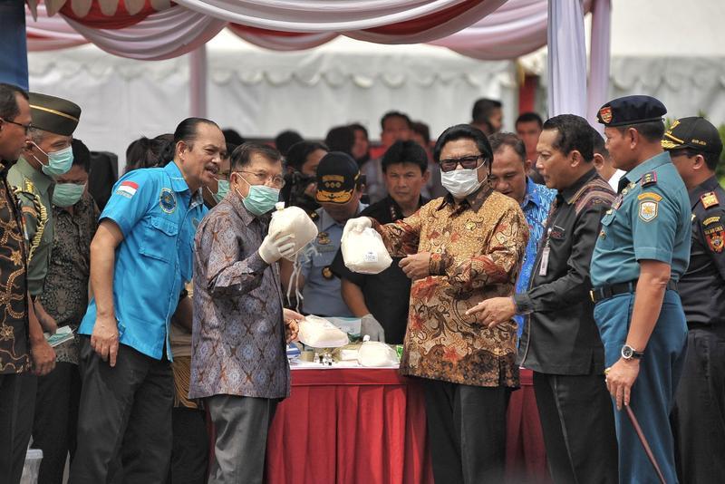 今年五月,印尼大規模掃毒行動,查扣超過4000公斤的安非他命毒品。(東方IC)