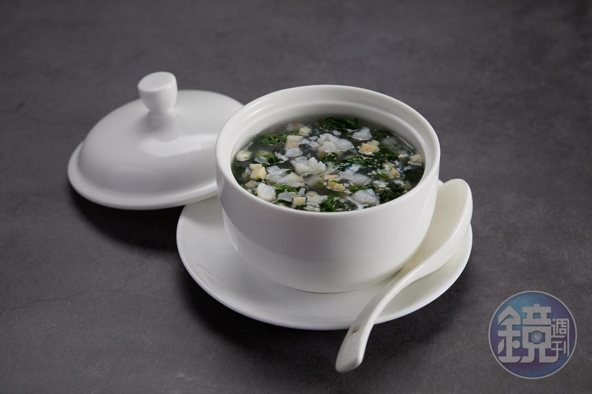 「碧綠黃魚羹」用的也是薺菜,跟黃魚的口味搭配極佳。(185元/份)