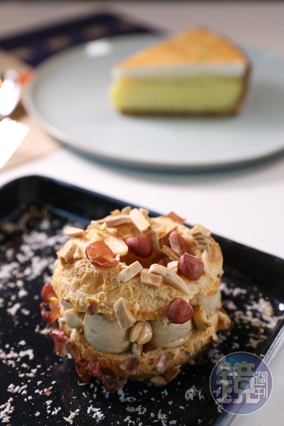 名為「巴黎-澳門」的甜點,其實是有百年歷史的法式甜點Paris Brest,但主廚調整了配方,以花生奶油取代杏仁奶油,向澳門致意。(澳門幣98元/份,約NT$375)