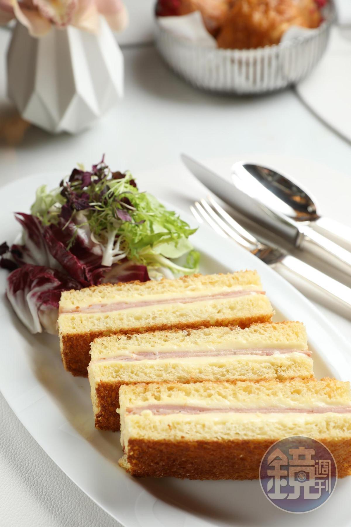 主廚自己最愛的「艾爾曼經典法式三文治」,全天都有供應。(澳門幣138元/份,約NT$524)