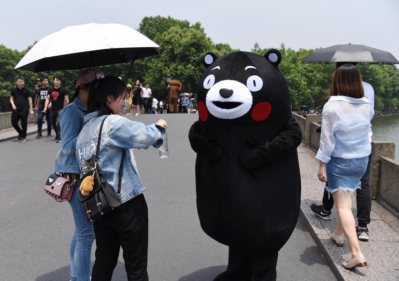 「熊本熊」官方名稱其實是「酷MA萌」,但官方名稱實在太不紅,讓熊本縣很困擾。(東方IC)