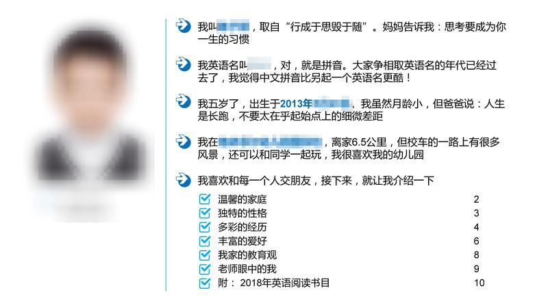 中國大陸一名男童為申請上海雙語小學,交上了15頁簡歷。(翻攝梨視頻)