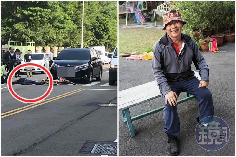 黎明幼兒園園長林金連今早騎著腳踏車撞上台中市長林佳龍靜止的座車。(左圖翻攝自徐玉紅臉書)