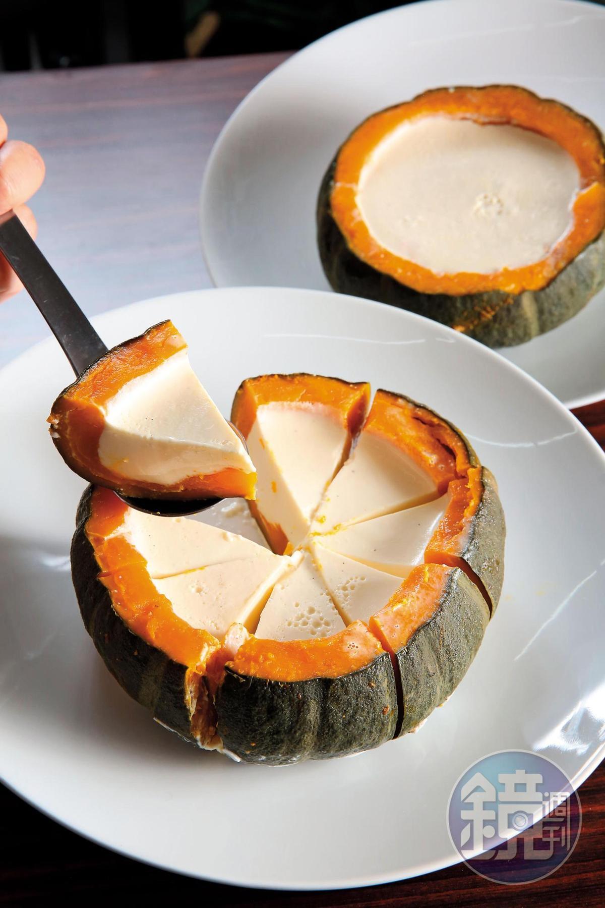 麵店裡的南瓜奶酪是熟客最愛的甜點,也是老闆親自製作。(150元/份)