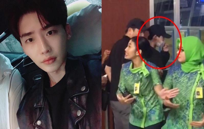 李鍾碩今(6日)凌晨於印尼機場終於登上返回韓國的班機。(左圖翻攝自李鍾碩IG,右圖翻攝自caturpujaa)