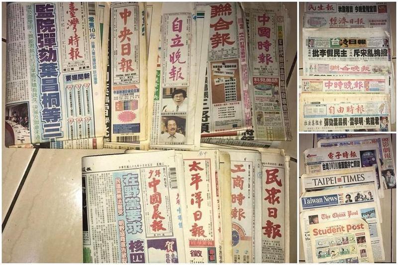 台中有一位爸爸在女兒出生當晚買了各家報紙,18年後將「時空膠囊」送給女兒。(翻攝自臉書)