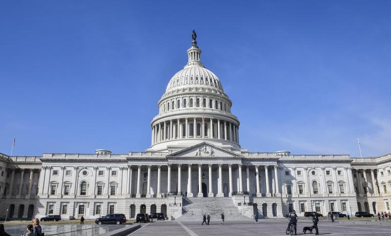 圖為美國國會所在的國會山莊。(東方IC)