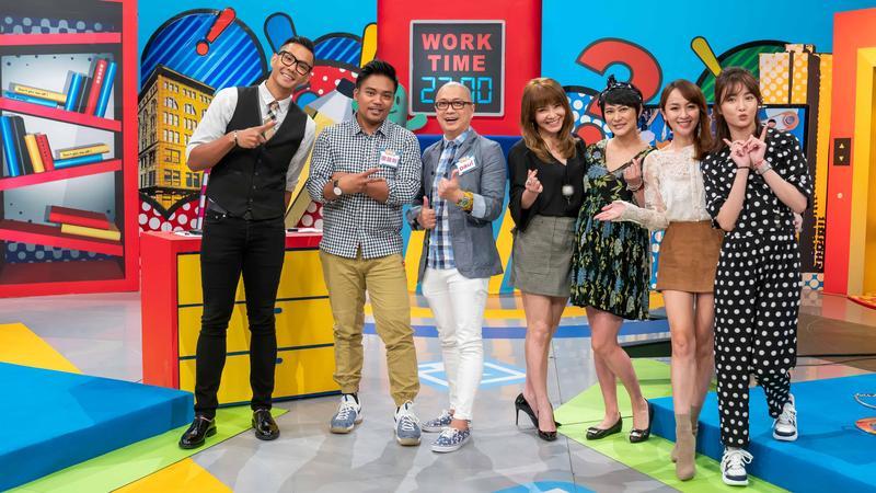 Paul與蔡逸帆上TVBS歡樂台42頻道《上班這黨事》分享家中規矩,行徑笑翻眾人。(TVBS歡樂台提供)