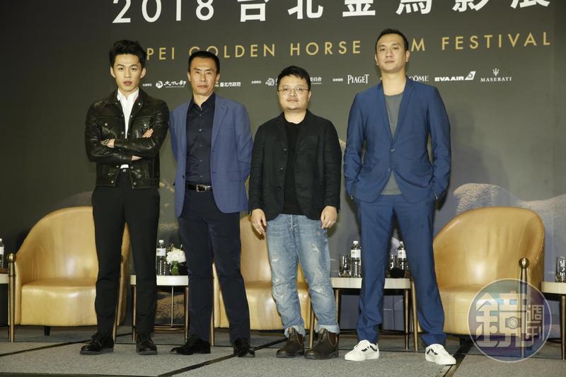 導演畢贛偕本片演員黃覺、陳永忠和李鴻其出席8日的開幕記者會。