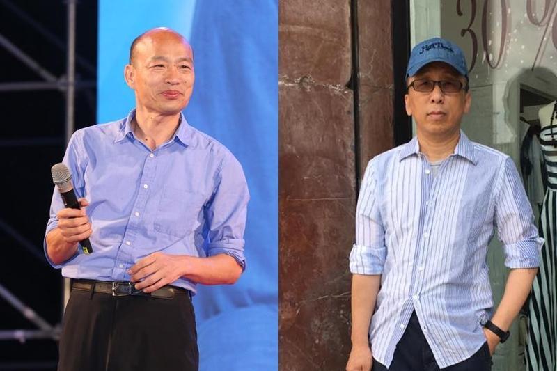 苦苓(右)再度對韓國瑜(左)提出質疑,並要他回答60道題,讓大眾知道韓國瑜對高雄的理解到底有多少。(取自苦苓臉書)