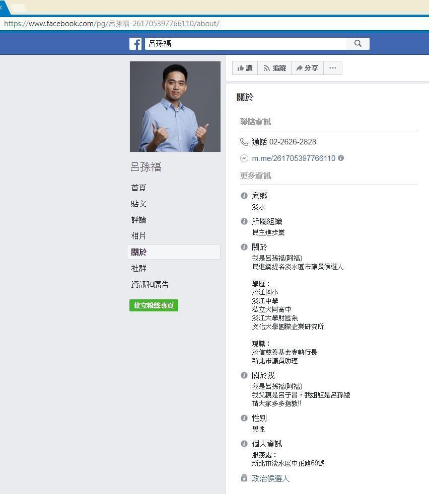 民進黨新北市議員候選人呂孫福的粉絲專頁遭盜用。(翻攝畫面)