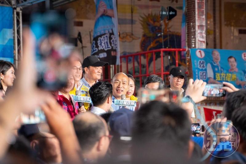 國民黨高雄市長候選人韓國瑜今到林園搶攻綠營票倉。(讀者提供)