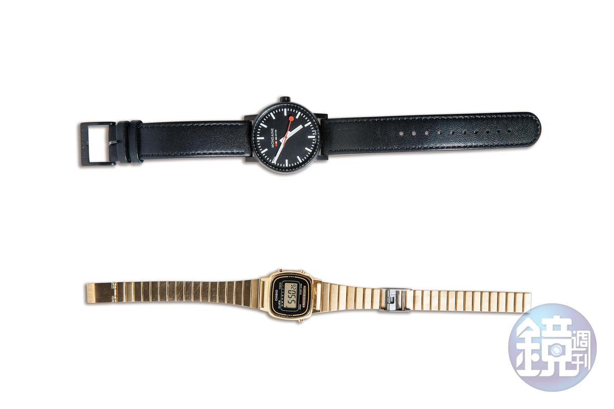 Mondaine手錶。NT$8,800(上)/CASIO手錶。約NT$1,200(下)