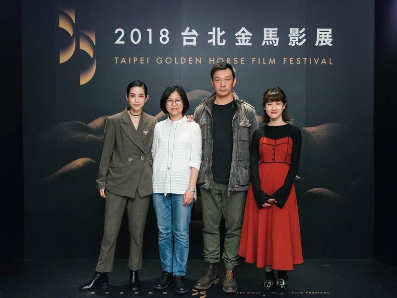 2018金馬電影學院短片演員温貞菱(左起)、導師姜秀瓊、黃信堯、演員連俞涵。(金馬執委會提供)