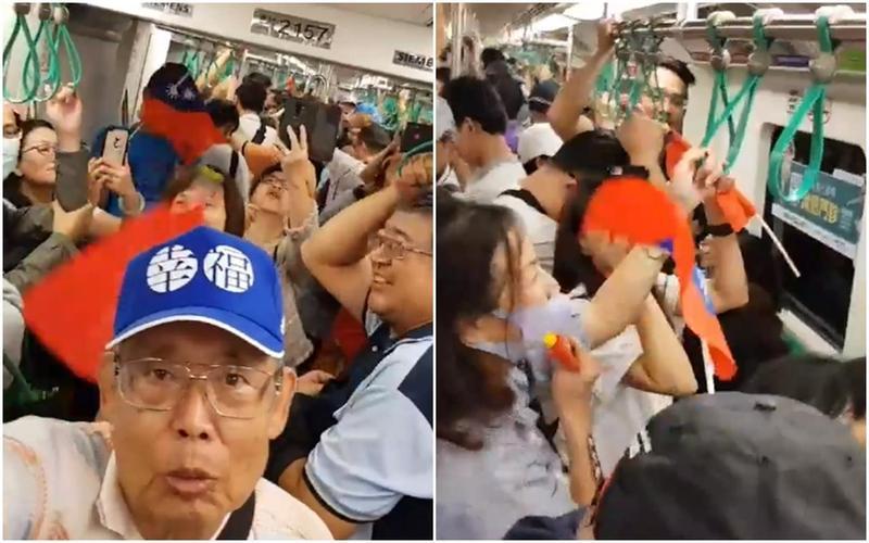 韓國瑜造勢活動結束後,韓粉們竟然意猶未盡,就在高捷車廂上再度齊唱〈夜襲〉。(翻攝自蔡正元臉書)
