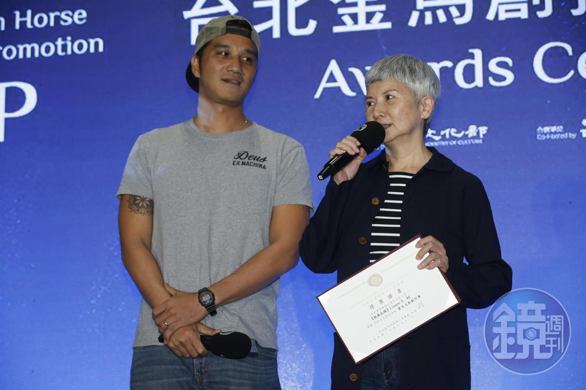 李烈陪著子弟兵馬志翔來創投,他們的企劃案《林森北路》獲臺北文創劇作獎。