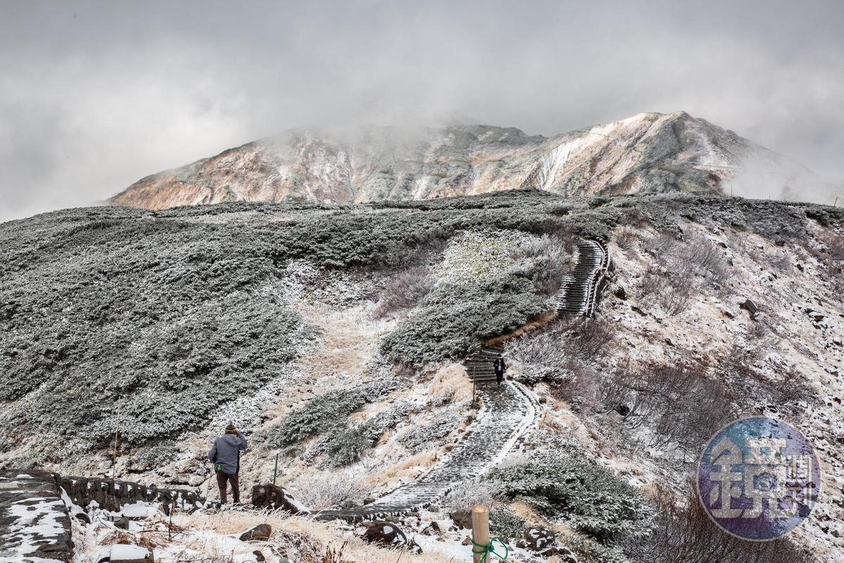 穿過被白雪覆蓋的爬松,即是冒著白煙的「地獄谷」。