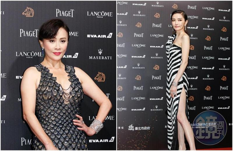 劉嘉玲(左)一襲爆乳魚鱗裝現身,謝金燕(右)則穿上全球唯一一件斑馬紋的MOSCHINO 2019黑白禮服。