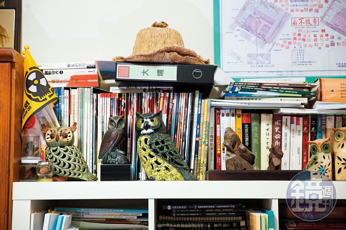 詹順貴酷愛蒐集貓頭鷹造型的各種擺飾,總數約上百個。