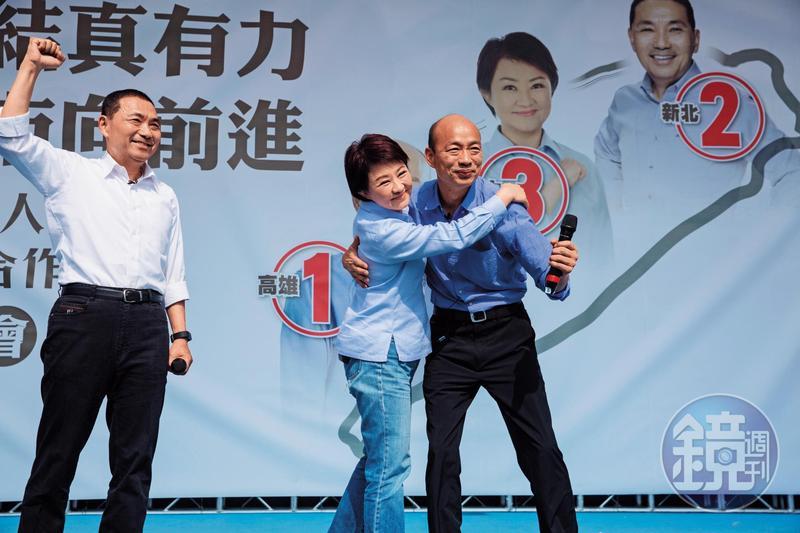 侯友宜(左起)、盧秀燕日前搭「韓流」找了韓國瑜合體,但韓受金馬統獨論戰、「母豬說」,目前仍與對手陳其邁陷入激戰。