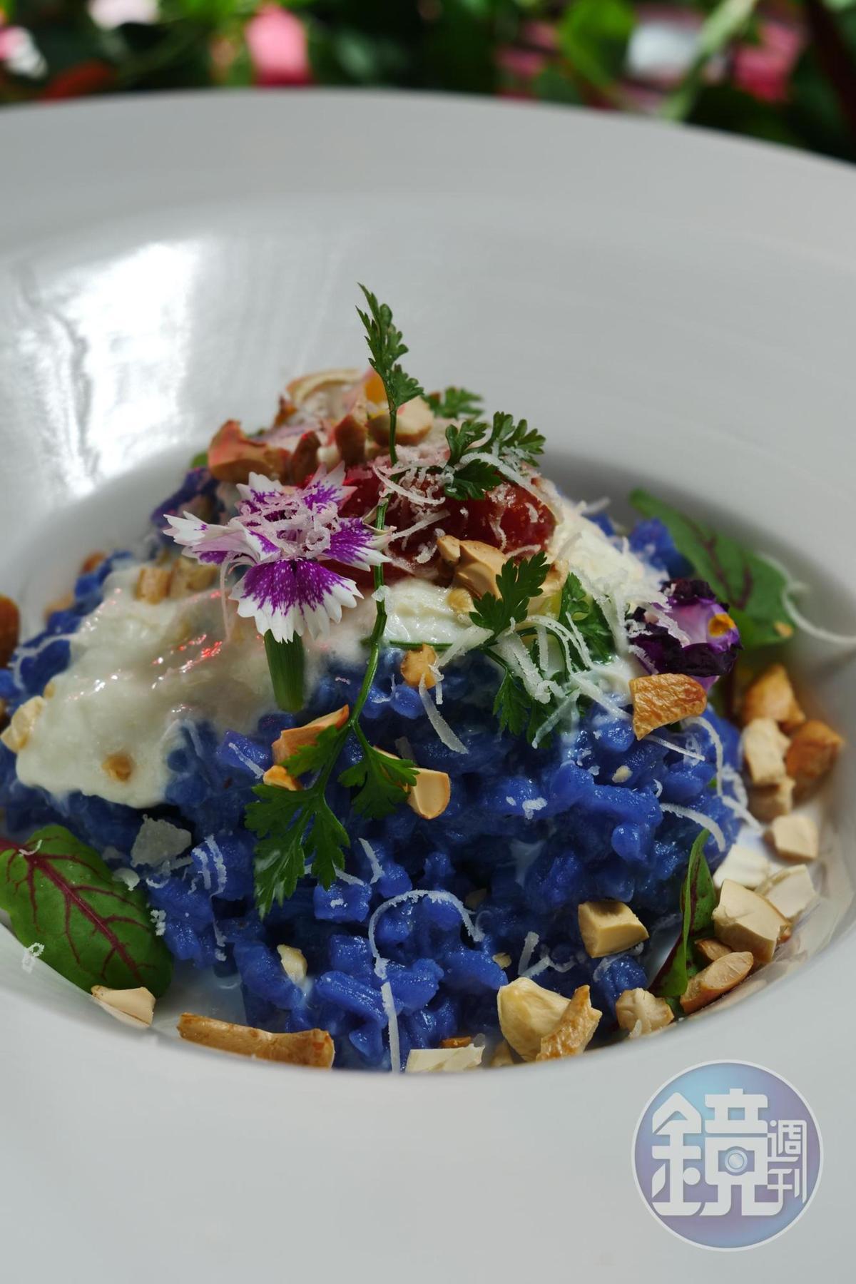 「蝶豆花奶油燉飯」,使用的是飯店自種的蝶豆花,奶油口感香濃。(340元/份)