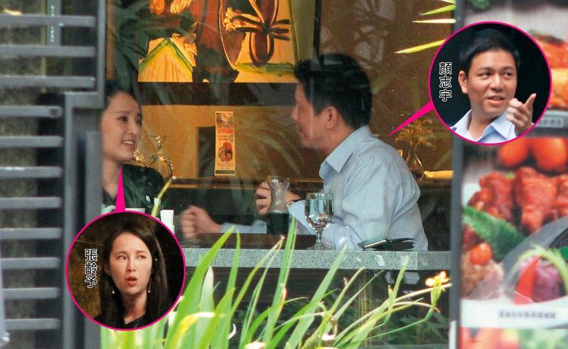 11月20日15:07,顏志宇跟張齡予對坐說笑,張齡予除了笑得甜甜之外,也幫顏志宇進行桌邊服務。