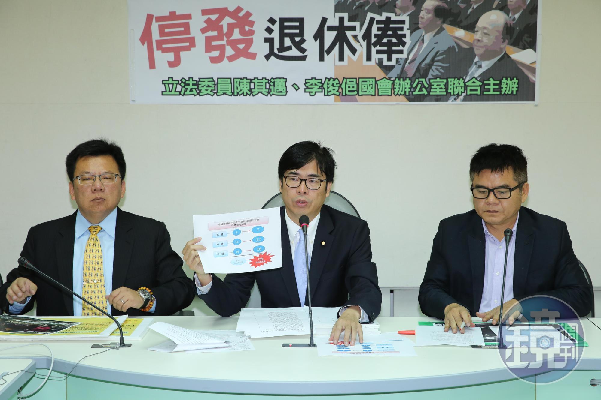 為了參選高雄市長,陳其邁(中)辭去立委職務,最終仍落敗。他曾任5屆立法委員,質詢犀利。