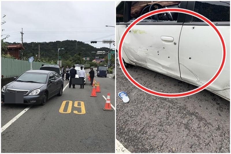 警方為追捕逃犯共開了22槍,潘嫌的白車上滿滿都是彈孔。(翻攝畫面)