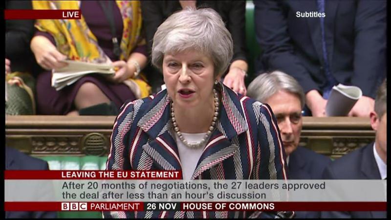 2018年11月26日,英國首相梅伊在出席歐盟高峰會之後向英國國會提交脫歐協議。英國國會預計將在12月11日進行表決。(東方IC)