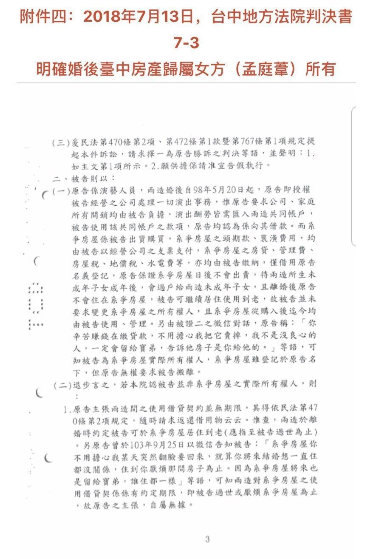 孟庭葦提出的法院判決書中,顯示台中地方法院將房產判決歸孟庭葦所有。(豐華提供)