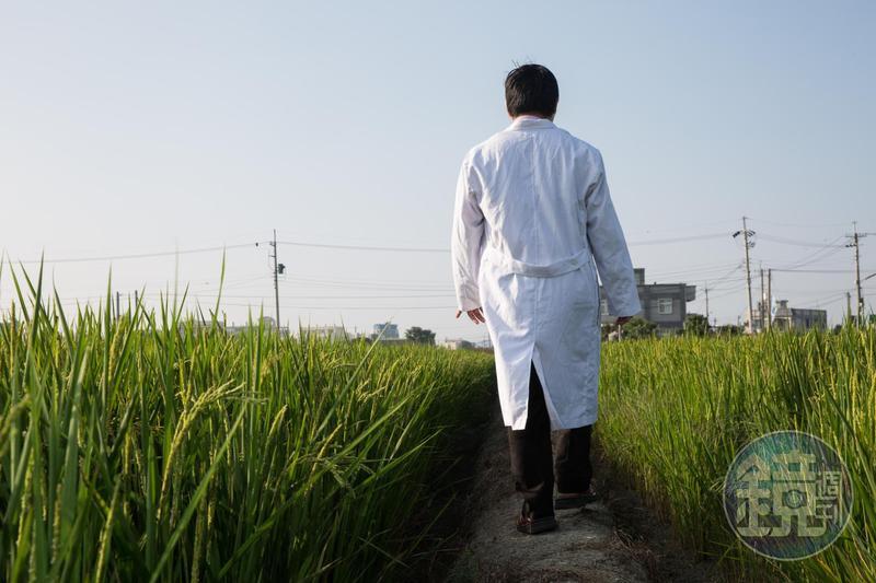 走在稻田小徑間拍照,翁建原以自己養狗的經驗妙喻投資。