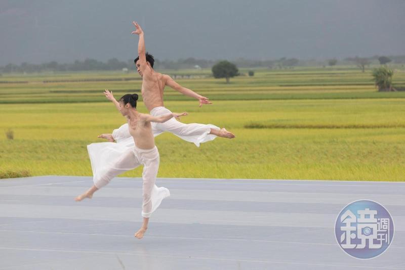 台東池上秋收稻穗藝術節10週年,雲門舞集創辦人林懷民選擇演出《松煙》舞作向鄉親致意。
