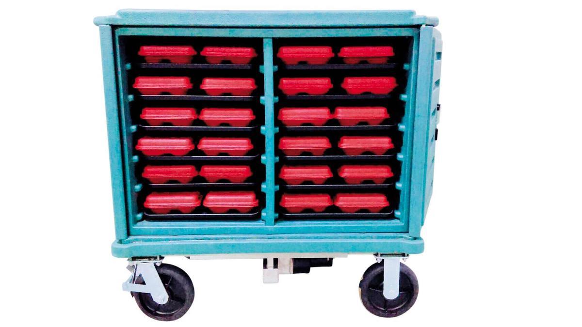 吉維那也開發出可加溫的保溫餐盒車。(吉維那提供)