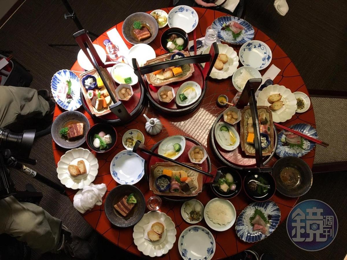 以朱紅漆桶盛裝、擺滿一個圓桌的桌袱料理,是玩長崎必吃的特色餐點之一。