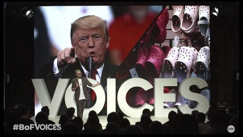 2018年11月9日,前「劍橋分析」數據分析師威利,在BoF Voices年度論壇解說時尚數據如何影響了2016年美國大選。(網路截圖,YouTube/Business of Fashion)