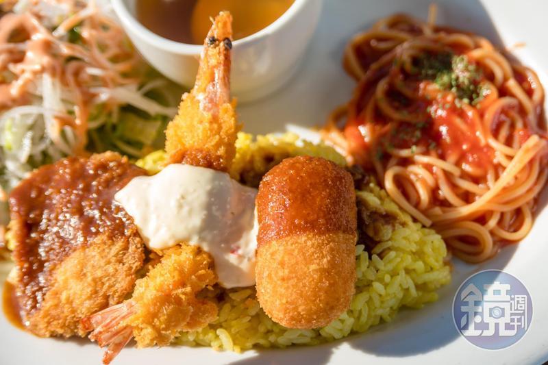 長崎人發明的「土耳其飯」,是肉醬麵、燴飯、炸物的奇妙組合,跟土耳其一點關係也沒有。(880日圓/份,約NT$239)