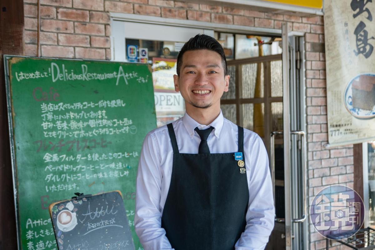 Attic裡臥虎藏龍,咖啡師田口大介曾拿下2013年日本九州地區espresso冠軍。