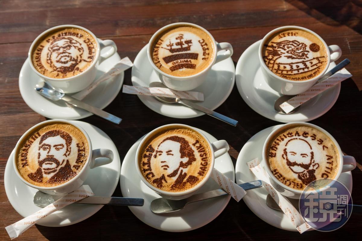 出島是咖啡初次登陸之地,點杯卡布其諾,咖啡師會妝點上阪本龍馬等各種長崎特色。(420日圓/大杯,約NT$113)