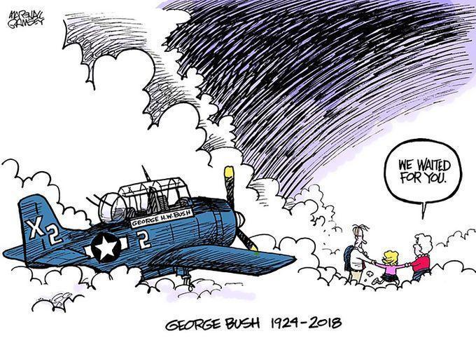 新聞插畫家蘭姆希為《克拉里翁記事報》所繪紀念牢布希的漫畫。(網路截圖,twitter/@MarshallRamsey)