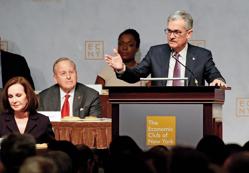 上週聯準會主席鮑威爾的一場演講,市場解讀升息速度將減緩,股市大漲回應。(東方IC)
