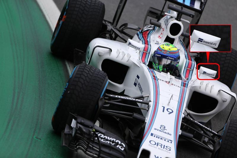 Financial.org宣稱是F1賽車贊助商,因此賽車後視鏡才會貼上其LOGO。(東方IC)