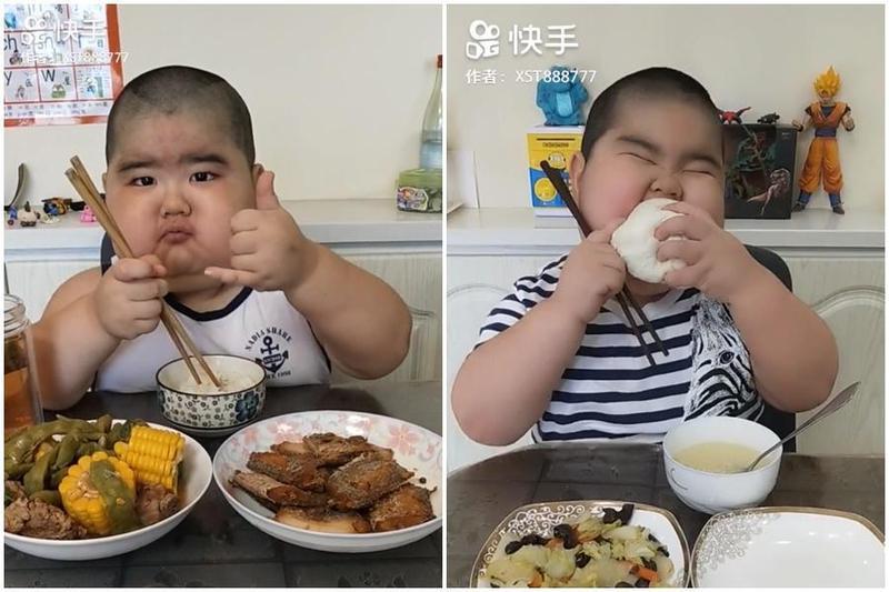 罹患腎病的5歲男童靠直播吃飯賺醫藥費,減輕父母負擔。(翻攝網路)