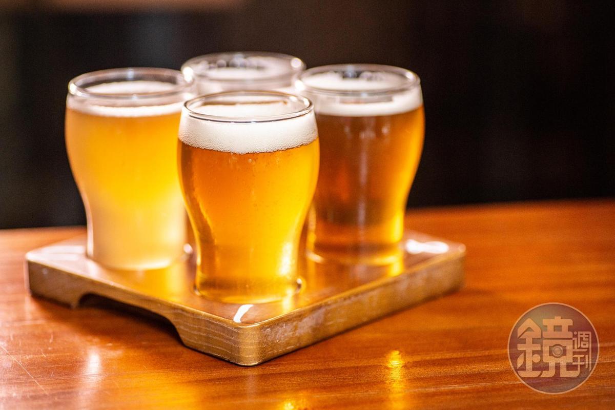 「Beer Flight」可任選4種啤酒,每杯200ml。(港幣140元/份,約NT$555)