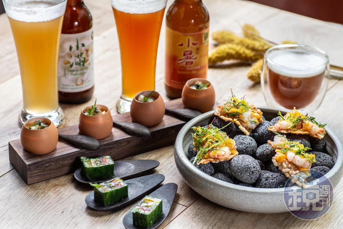 「大地時蔬凍」「鰻魚溫蛋燻洋芋」「烏魚子蝦餅」等開胃菜。